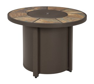 Predmore Contemporary Beige Brown Round Fire Pit Table