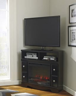 Shay Black Wood Corner Tv Stand W/Fireplace