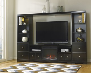 Shay Black Metal Wood Glass Entertainment Center W/Fireplace
