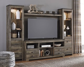 Trinell Rustic Brown Wood 8 Shelves Entertainment Center