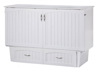 Nantucket White Wood Storage Queen Murphy Chest Bed