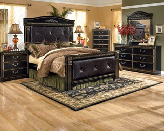 Coal Creek Dark Brown Wood 2pc Bedroom Set W/King Mansion Bed