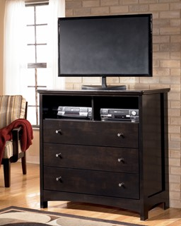 Harmony Contemporary Dark Brown Wood Media Chest