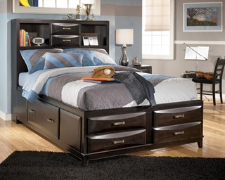 Kira Contemporary Almost Black Wood Full Drawers Storage Bed