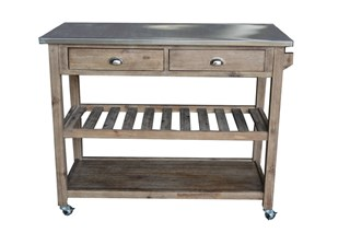 Sonoma Transitional Gray Wood Steal Kitchen Cart