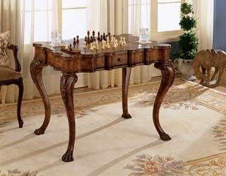 Heritage Traditional Medium Brown Solid Wood Curved Legs Game Table
