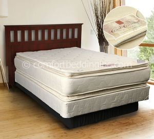 beige coil comfort pillow top plush double sided queen mattress - Innerspring Mattress
