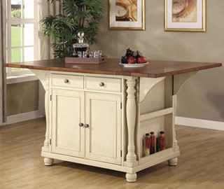 Casual Brown Buttermilk Wood Rectangle Kitchen Island