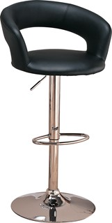 Contemporary Chrome Black Metal Faux Leather Bar Stool