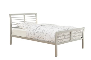 Ion Modern Silver Metal Iron Sleigh Queen Bed
