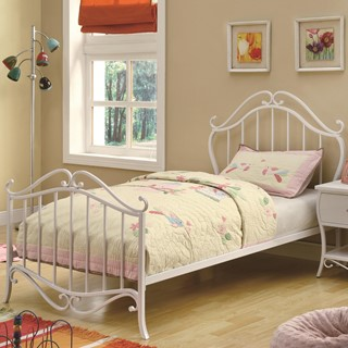 bella elegant white metal twin bed
