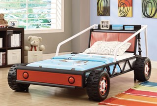 Casual Black Red Metal Twin Race Car Bed