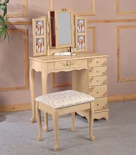 Ivory Wood Door Storage 2 Piece Vanity Set