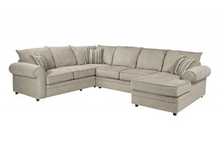 Fairhaven Traditional Cream Herringbone Chenille Rolled Arm Sectional