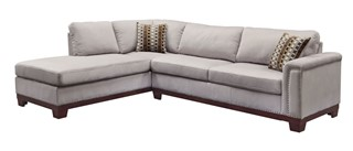 Mason Contemporary Grey Wood And Velvet Sectional