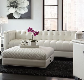 Chaviano Contemporary White Silver Faux Leather Wood Tufted Sofa
