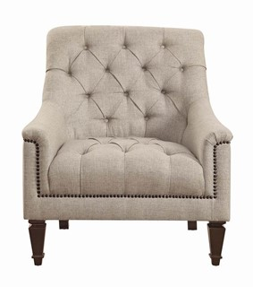 Avonlea Traditional Beige Fabric Brown Solid Wood Tufted Back Sofa