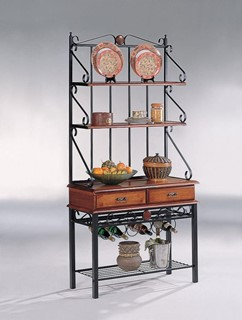 Tobacco Metal Wood Storage Bakers Rack