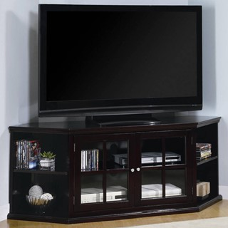 Transitional Espresso Wood Glass Armoire TV Stand