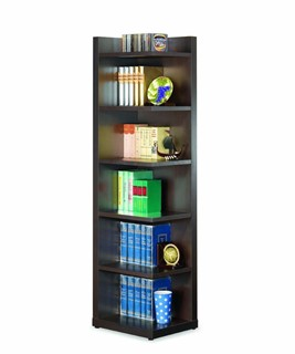 Transitional Brown Wood Fixed Shelves Corner Bookcase
