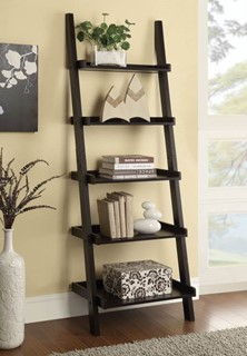Casual Cappuccino Wood Wall Recessed Ladder Bookcase