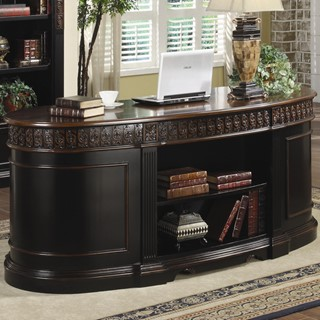 Nicolas Traditional Wood Oval Executive Double Pedestal Desk