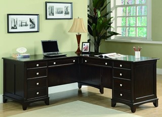 Transitional Cappuccino Drawers L Shaped Desk
