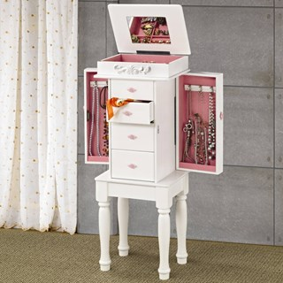 Traditional White Wood Drawers Jewelry Armoire