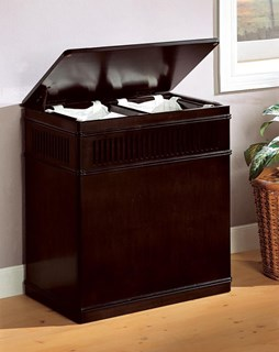 Cappuccino Wood Laundry Hamper