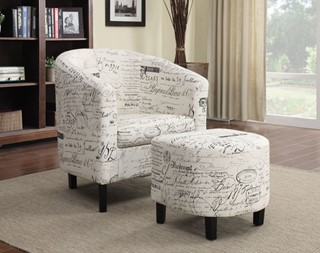 Vintage French Wood Fabric Accent Chair W/Ottoman