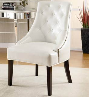 White Wood Bonded Leather Button Tufted Accent Chair