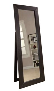 Dark Cappuccino Wood Glass Floor Mirror