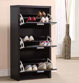 Transitional Black Wood Shoe Rack W/Shelves
