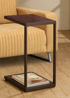 Dark Brown Faux Wood Sled Snack Table