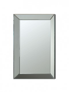 Contemporary Silver Accent Frameless Beveled Mirror