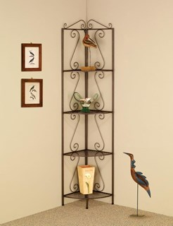 Traditional Copper Metal Storage Corner Rack