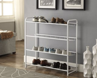 White Metal 4 Shelves Shoe Rack