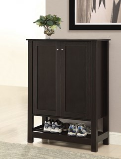 Cappuccino Wood Shoe Cabinet w/Two Storage Drawers