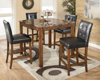 Theo Contemporary Brown Wood PVC Counter Height Table & 4 Stools
