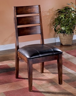 2 larchmont dark brown faux leather wood dining side chairs - Dinette Chairs