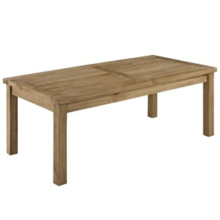 Marina Modern Natural Wood Rectangle Outdoor Patio Coffee Table
