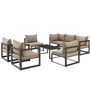Fortuna Brown Fabric Glass 8pc Outdoor Patio Sofa Set