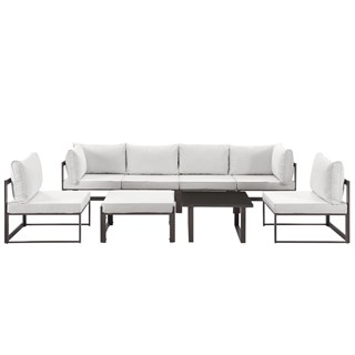 Fortuna Brown White Fabric Glass 8pc Outdoor Patio Sofa Set