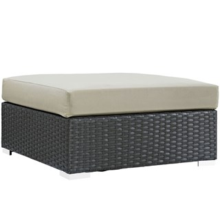 Sojourn Beige Fabric Synthetic Rattan Outdoor Patio Square Ottoman