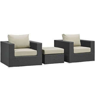 Sojourn Fabric Synthetic Rattan 3pc Outdoor Chairs & Ottoman Set