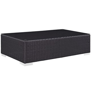 Convene Espresso Synthetic Rattan Glass Outdoor Patio Coffee Table