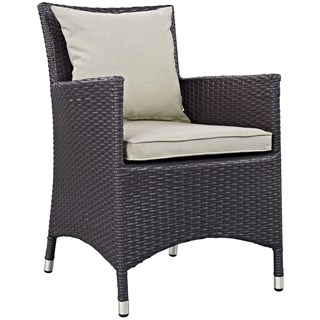 convene espresso beige fabric rattan outdoor patio dining armchair