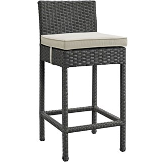 Sojourn Beige Fabric PE Rattan Outdoor Bar Stool