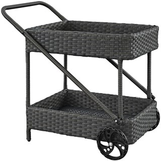 Sojourn Chocolate Synthetic Rattan Outdoor Patio Beverage Cart