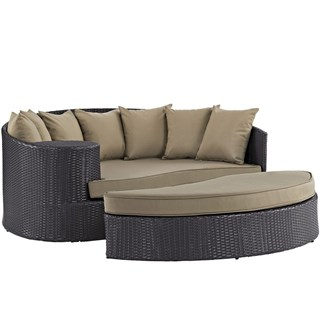 Convene Espresso Mocha Fabric Synthetic Rattan Outdoor Patio Daybed